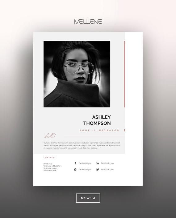 Resume Template 5 Page Cv Template Cover Letter Instant Download For Ms Word Ashley In 2020 Cv Design Cv Template Resume Design