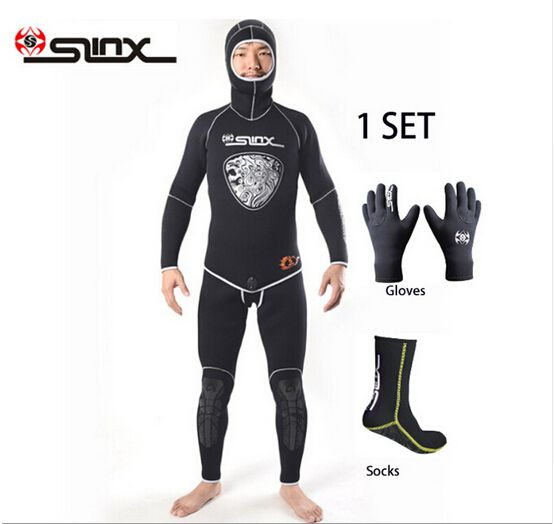 SLINX 5mm Neoprene Scuba Diving Spear Fishing Fishermen Snorkeling Wetsuit Winter Warm Two-Piece Suit with 3mm Gloves Socks Set