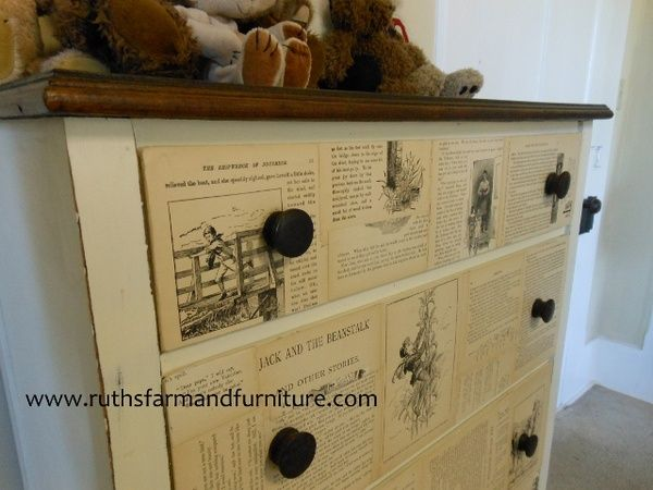 twenty amazing projects with book pages.Storybook Bureau, Dressers Drawers, Stories Book, Old Dressers, Book Pages, Storybook Dressers, Book Bookshelves Libraries, Books Bookshelves Libraries, Chest Of Drawers