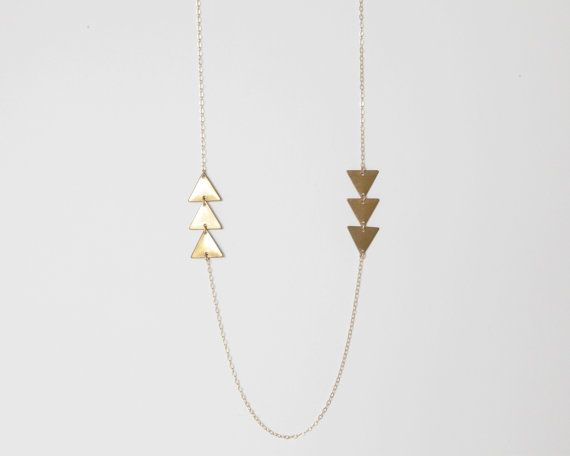 Airows - Delicate Raw Brass Triangle 14kt Gold Filled Necklace - Fun, Simple and Minimal Jewelry by Catabot via Etsy