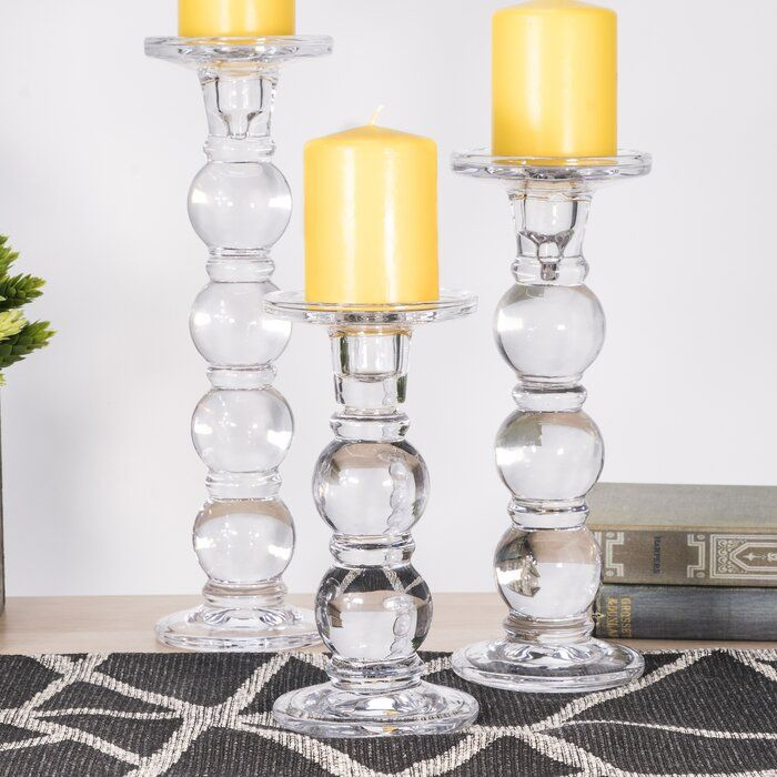 3 Piece Glass Candlestick Set Glass Candlesticks Glass Candle Candle Holders