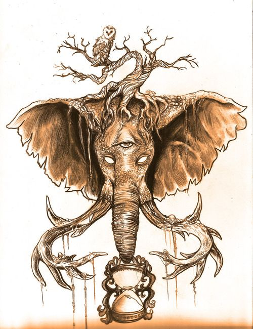 Elephant And Owl Drawing Tattoo - http://www.beautifultattooideas.com/elephant-and-owl-drawing-tattoo/