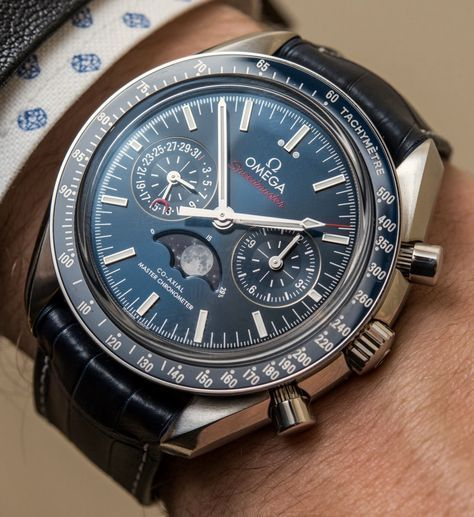 """Omega Speedmaster Master Chronometer Chronograph Moonphase Watches Hands-On - full photo gallery, hands-on video, & our impressions on aBlogtoWatch.com """"For 2016, Omega has released a collection of Speedmaster moon phase watches, a complication that pays homage to the watch's unique history as the watch NASA took to the moon. Last year, Omega unveiled a Speedmaster Dark Side of the Moon collection, but this year they want to show off the storied space history..."""" #BaselworldABTW"""