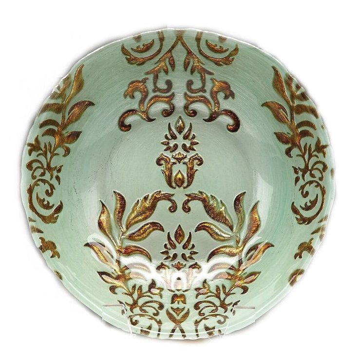 Red Pomegranate Gilded Tableware Turquoise and Damask Bowl