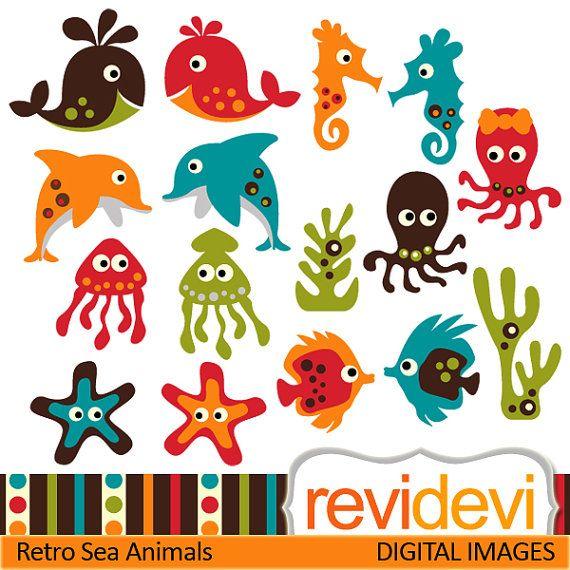 Buy 5 get 5 free.. Retro Sea Animals 07376.. Commercial use digital graphic clipart. $4.00, via Etsy.