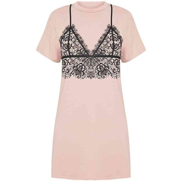 Lace Bralet Print Nude T-Shirt Dress ($12) ❤ liked on Polyvore featuring dresses, print dresses, tee shirt dress, pink dress, pattern dress and tee dress