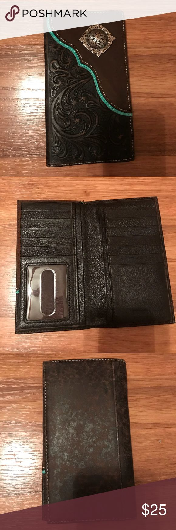 Nocona western wallet Men's or women's brown and teal leather wallet with silver concho. In like new condition, no damage or marks. Nocona Bags Wallets
