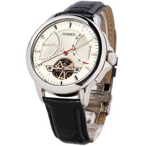 Time100 Herrenuhr Automatik Lederarmband Mechanische Armbanduhr Saphirglas Schwarz #W70035G.01A