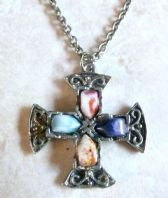 Vintage Faux Agate Celtic Cross Style Necklace.