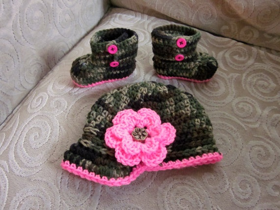 Camouflage Camo Baby Girl Hat and Booties Crochet by vbirschbach