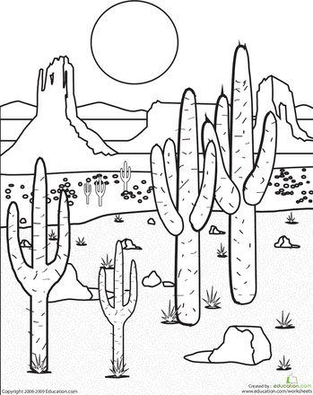 color the desert landscape worksheets deserts and landscaping. Black Bedroom Furniture Sets. Home Design Ideas