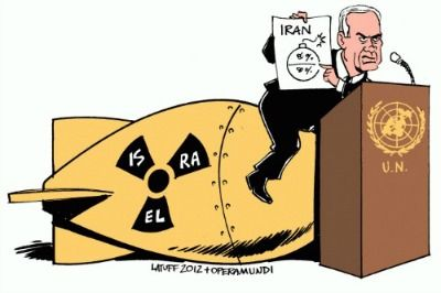 Thursday, October 01, 2015 by Abby Zimet, staff writer  38 Comments  In a long speech full of his usual bellicose theatrics - cartoon bombs! - Israeli Prime Minister Benjamin Netanyahu excoriated...