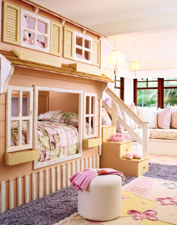 "What an adorable ""House"" bunkbed for a little girls room... My girls would love it<3 http://createfindadmire.tumblr.com/post/786198717"