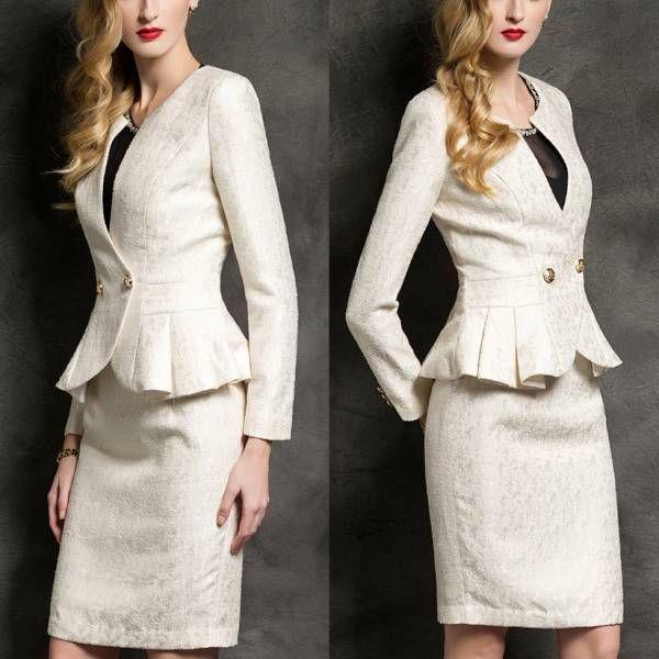 人気レディースファッショントレンドデザインエレガントビジネスオフィスOL上品職場女性社員魅力長袖フォーマルスリムスカートスーツ S22OW_画像2