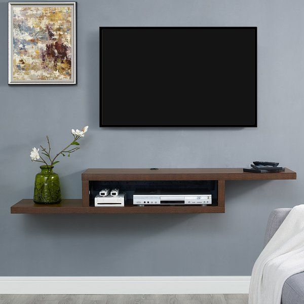 The Ascend 60 Wall Mounted Tv Component Shelf Has A Modern Flair With Earance Of Floating And Unique Asymmetrical Design