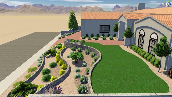 3d landscape design multi level front yard this front for Garden design level 3