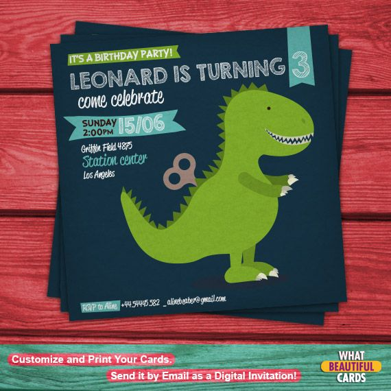 Invite your little friends at the scariest and prehistoric birthday party with this cute and personalized invitation card!  Awesome by #WhatBeautifulCards