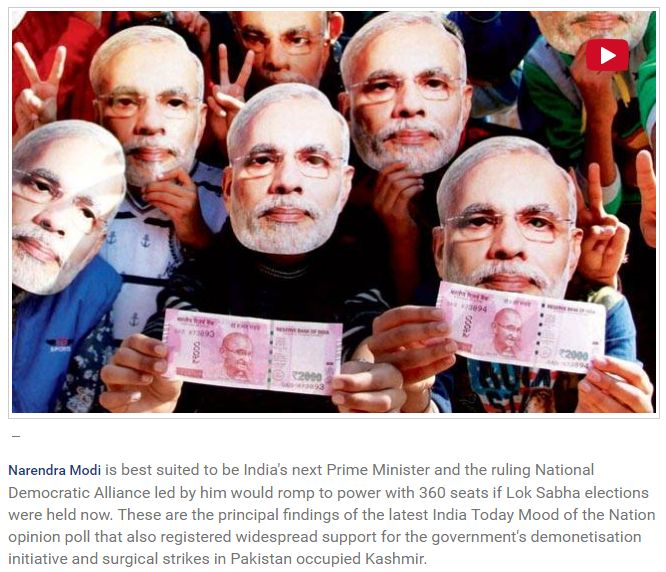 """India Today Mood of the Nation: Note or vote, India banks on Modi """"These are the principal findings of the latest India Today Mood of the Nation opinion poll that also registered widespread support for the government's demonetisation initiative and surgical strikes in Pakistan occupied Kashmir. Get Narendra Modi's & BJP's latest news and updates with - http://nm4.in/dnldapp http://www.narendramodi.in/downloadapp. Download Now."""""""