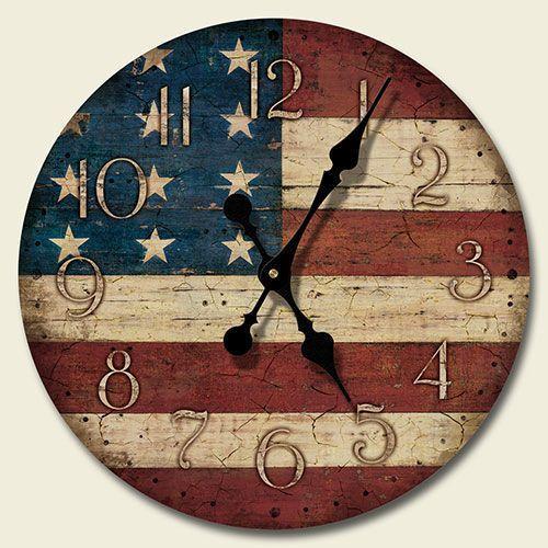 Faux ANTIQUE AMERICAN FLAG WALL CLOCK Americana Folk