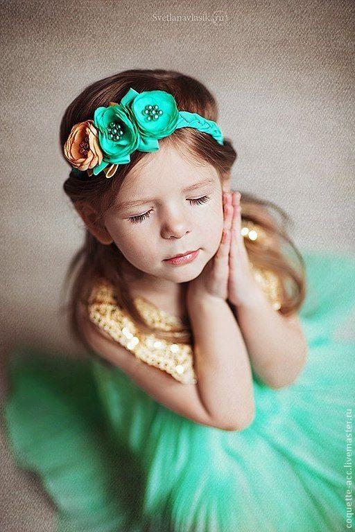 """Flower headband for girl / Повязка для волос """"Свежий Мятный Аромат..""""2 - морская волна, подарок подруге"""