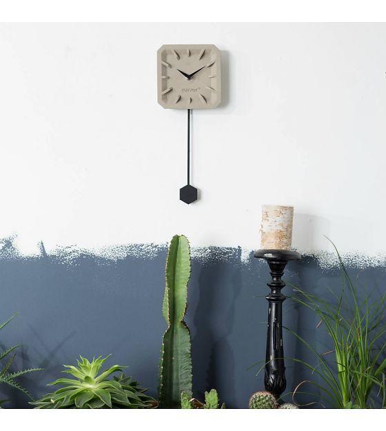 Zuiver Klok Tiktak time grijs zwart beton aluminium 15,5x37,5x4cm - wonenmetlef.nl
