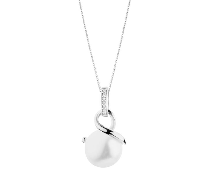 Zawieszka srebrna z perłą i cyrkoniami | Apart