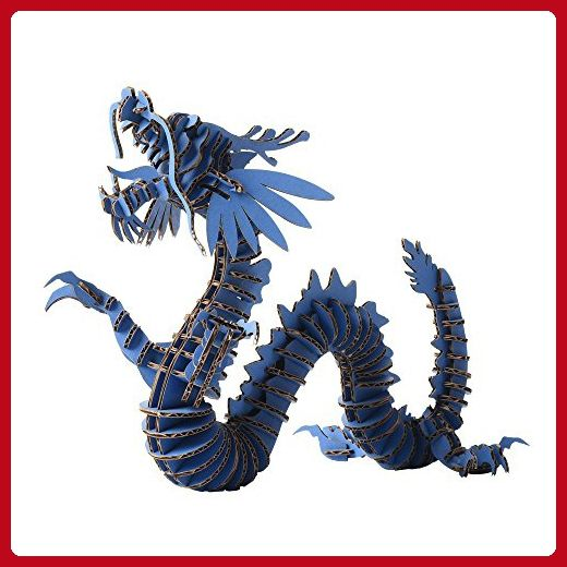 Paper Maker 3D Jigsaw Puzzle Dragon DIY Craft Gifts Home Decoration (Small, blue) - Lovley creatures (*Amazon Partner-Link)