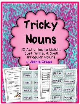 This tricky noun packet includes 40 different IRREGULAR NOUN FORMS WITH THEIR MATCHING PLURALS for a total of 80 cards. This is a really fun unit, especially the card match. My kids actually raced to see how many they could get.This product is designed to be differentiated.