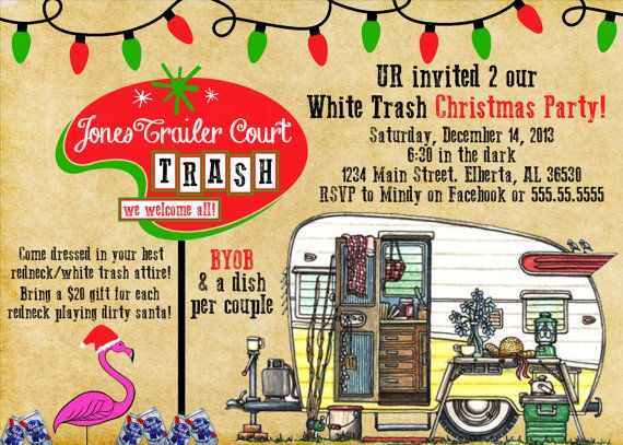 Redneck  White Trash  Christmas Party  Fun  by PaisleyPearInvites