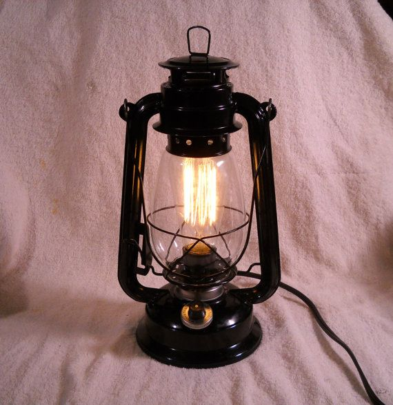 Indoor Lantern Lights: Black Electric Lantern Industrial Table Lamp Hanging