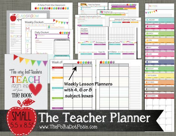The 25 best printable teacher planner ideas on pinterest teacher planner printable set sized small by polkadotposieprint pronofoot35fo Gallery