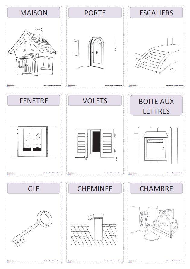 Un imagier thématique proposant 59 cartes et affiches sur le thème de la maison (le salon, la chambre, la cuisine, la salle de bain, le jardin, le garage)