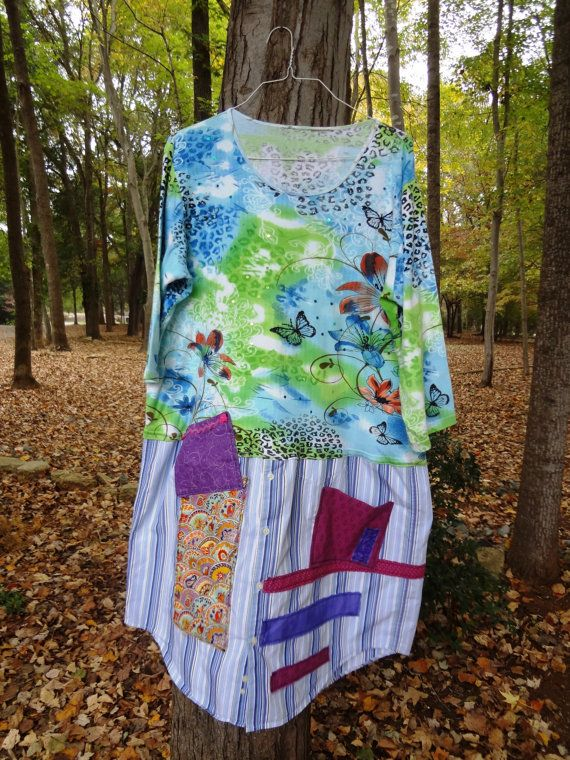 Plus Size Funky  Dress Tunic / Upcycled Clothing by by UpCDooZ, $52.00