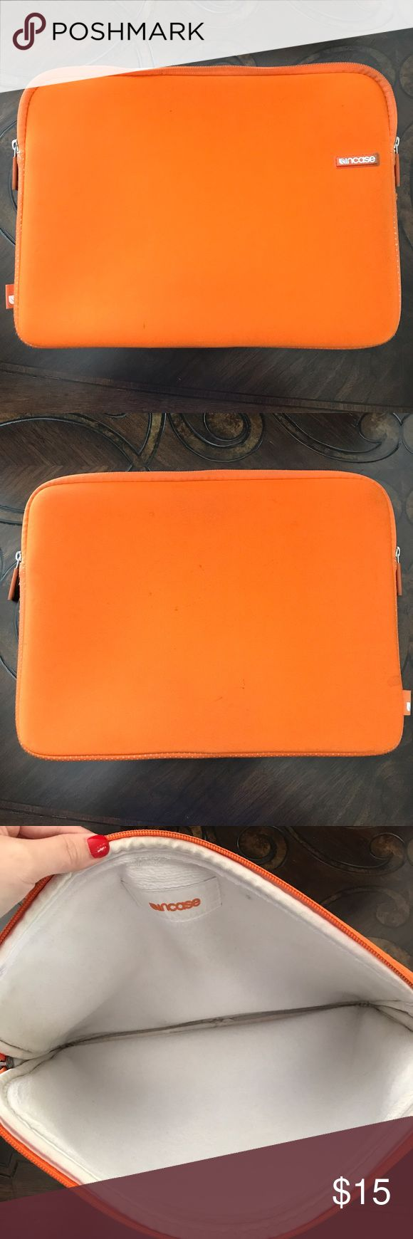 """Incase Orange Laptop Sleeve Orange incase 13"""" laptop case/sleeve. Worn on the outside a little, but still in very good condition as far as being able to protect your laptop! Neoprene material and very well cushioned on the inside. Make me an offer! incase Accessories Laptop Cases"""