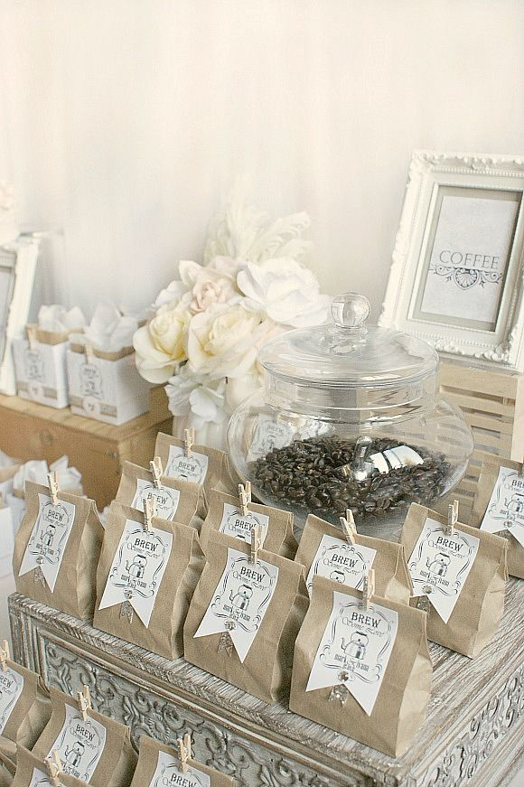 coffee favors- favorite coffee beans, wrapped up pretty :)