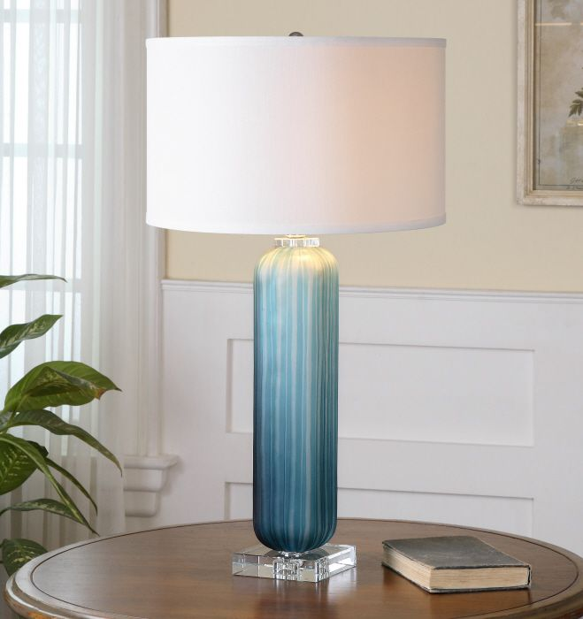 Caudina frosted blue glass lamp crudely grooved frosted blue glass with polished nickel plated accents and crystal details the round hardback drum shade is