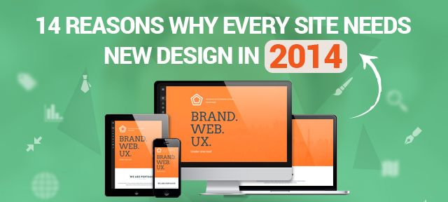 Why Every Site Needs New #Design In 2014? 14 Reasons; #RWD #mobile friendly @Manish_Analyst @Ellen Mouser Solutions   The design of every site needs to be overhauled every year. #HubSpot says 68% of marketers redesigned their sites every year.  This lends credence to our assertion that your #website is due for a #redesign this year.  The redesign mustn't be superficial but address some of deeper malaises afflicting your site.