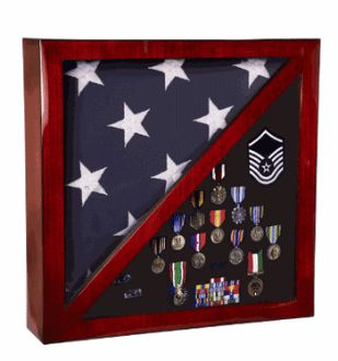 Cherry Flag and Medal Display Case Premium Wood