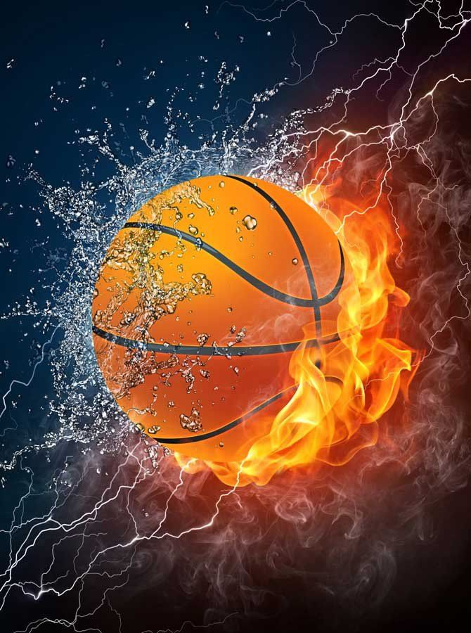 Printed Background Fire Basketball Backdrop 398