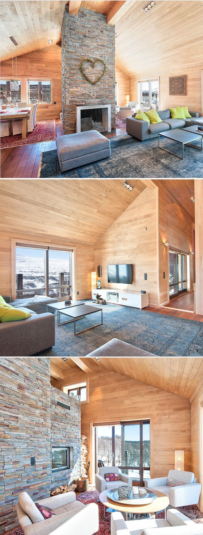 Wood boarding in the living room architecture for Innendekoration chalet