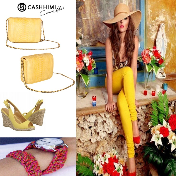 Cashhimi Yellow DOWNING Python Clutch