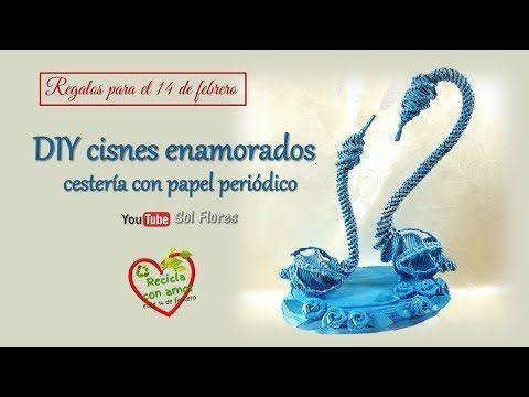 Regalos para el 14 de febrero DIY cisnes enamorados, cestería con papel periódico - YouTube