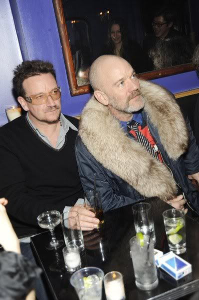 Bono and Michael Stipe (+ fuzzy weird thing...)