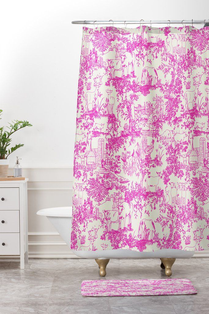 Rachelle Roberts Farm Land Toile In Pink Shower Curtain And Mat