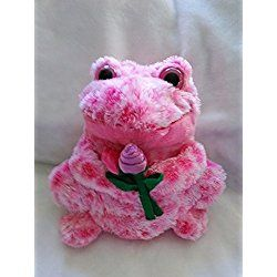 Valentine's Sweetest Day Pink Frog Plush Holding Purple Rose by Caltoy 10'' Inches