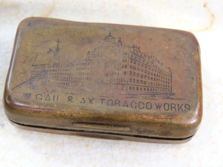 RARE G.W. Gail & Ax Brass Match Safe - Salesman's Sample Snuff Tobacco Tin by UrbanRenewalDesigns on Etsy