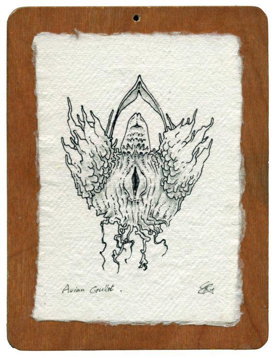"Original artwork ink drawing minimal ""Avian Gullet"" by Chris Richford 11.5 x 15.5 cm black ink drawing specimen science scientific biology"