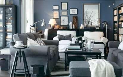 Abbinare il grigio alle pareti - Pareti blu e complementi grigio scuro