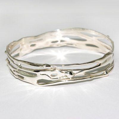 Beautiful sterling silver organic Bangle