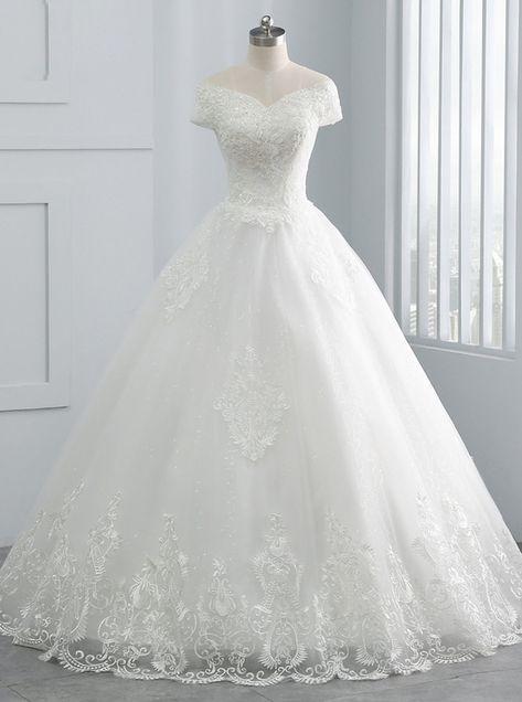 Robes de mariée hors l'épaule princesse, robe de mariée de longueur de plancher une ligne, dentelle …